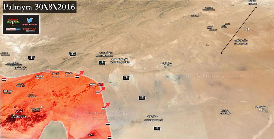 2016.08.30 17.00 Пальмира. Группировка ИГ опасно близка с юго-востока HD.jpg