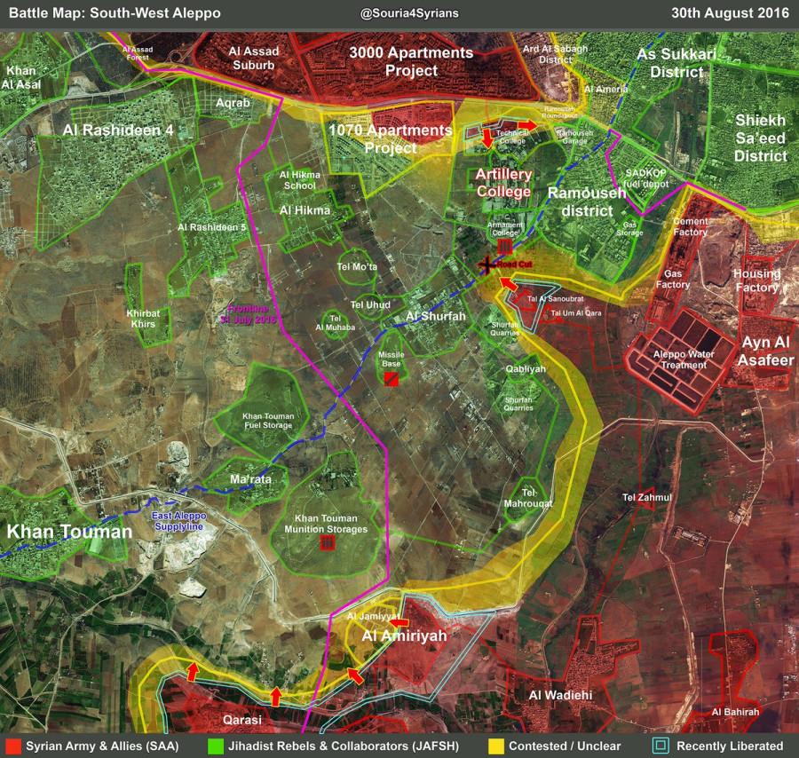 Боевая обстановка на юге Алеппо в ночь с 30 на 31 августа