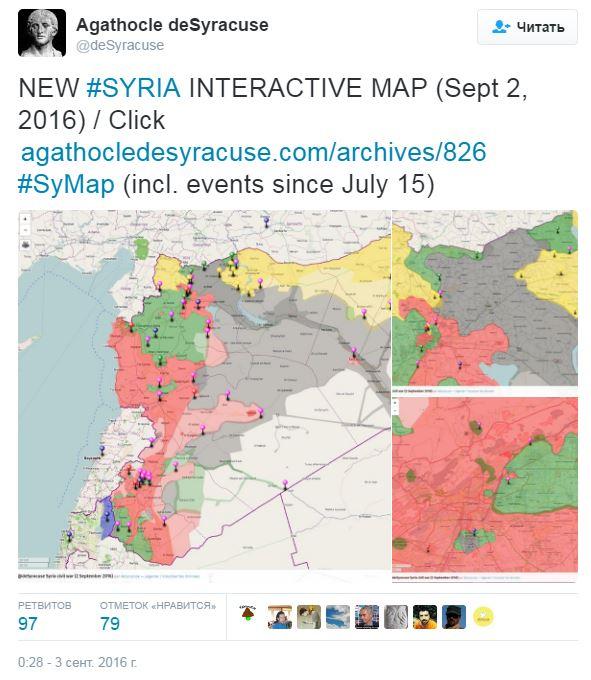 2016.09.03 00.28 твиттер deSyracuse Интерактивная карта Сирии (вкл. события с 15-го июля)