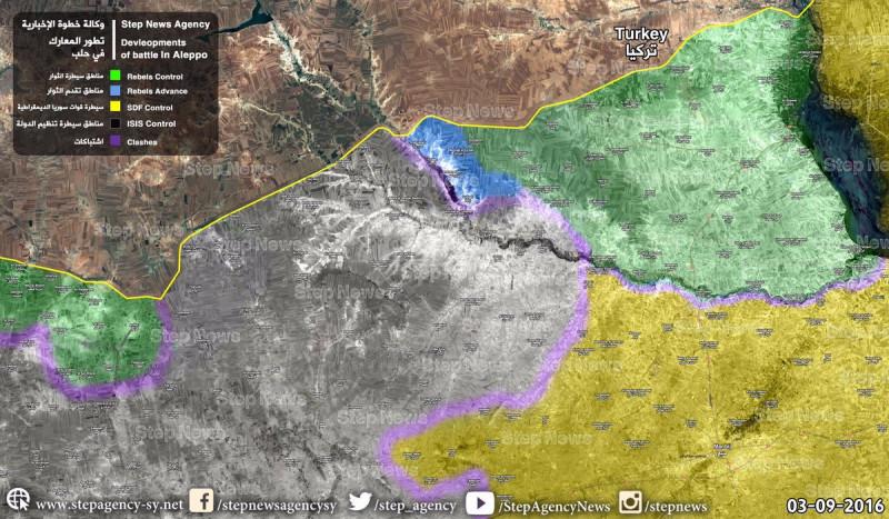 Карта продвижения ССА при поддержке Турции за сутки