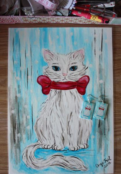 Эскиз и серьги Кошка блог