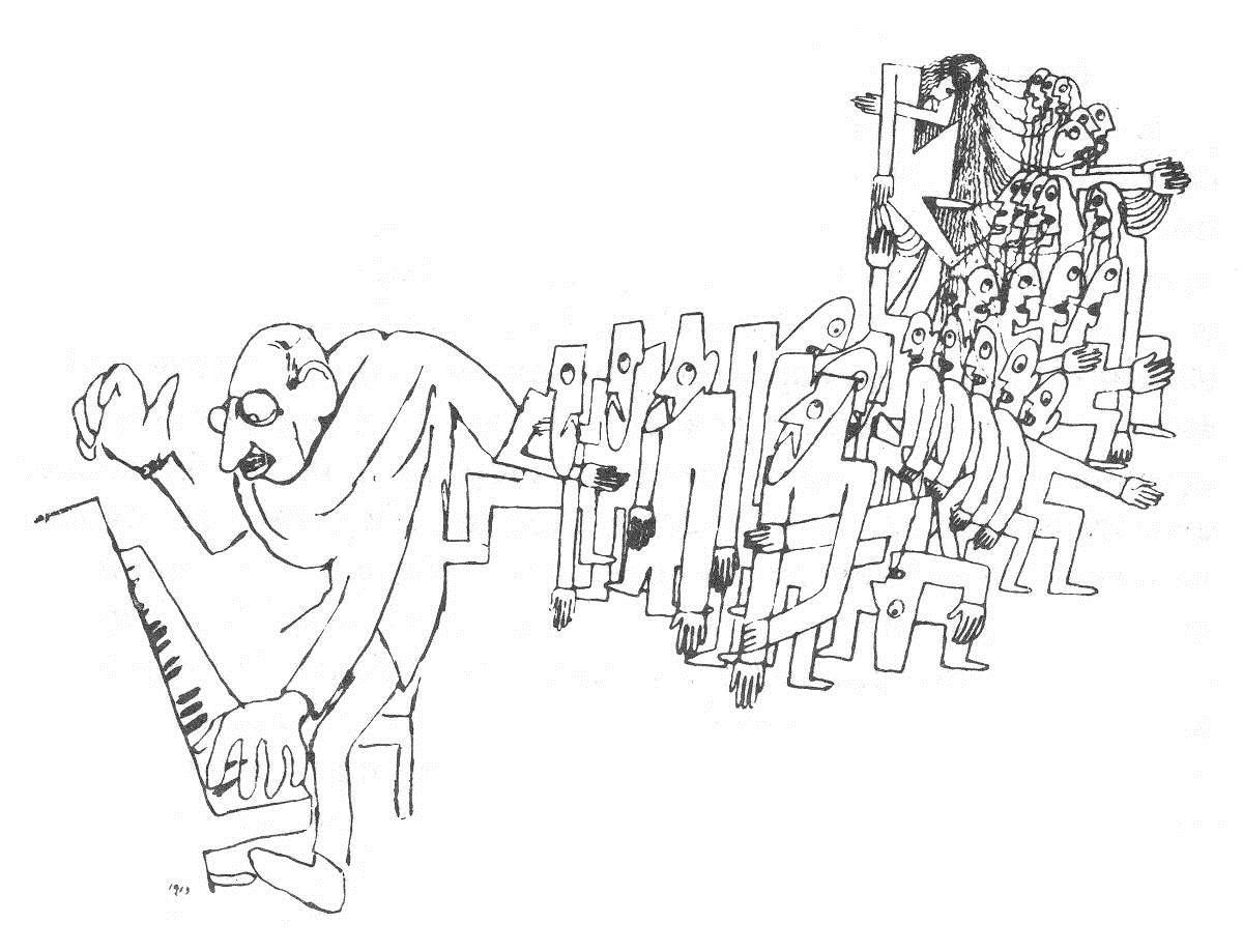 Ж.Кокто малює Стравінського під час написання -Весны священной-