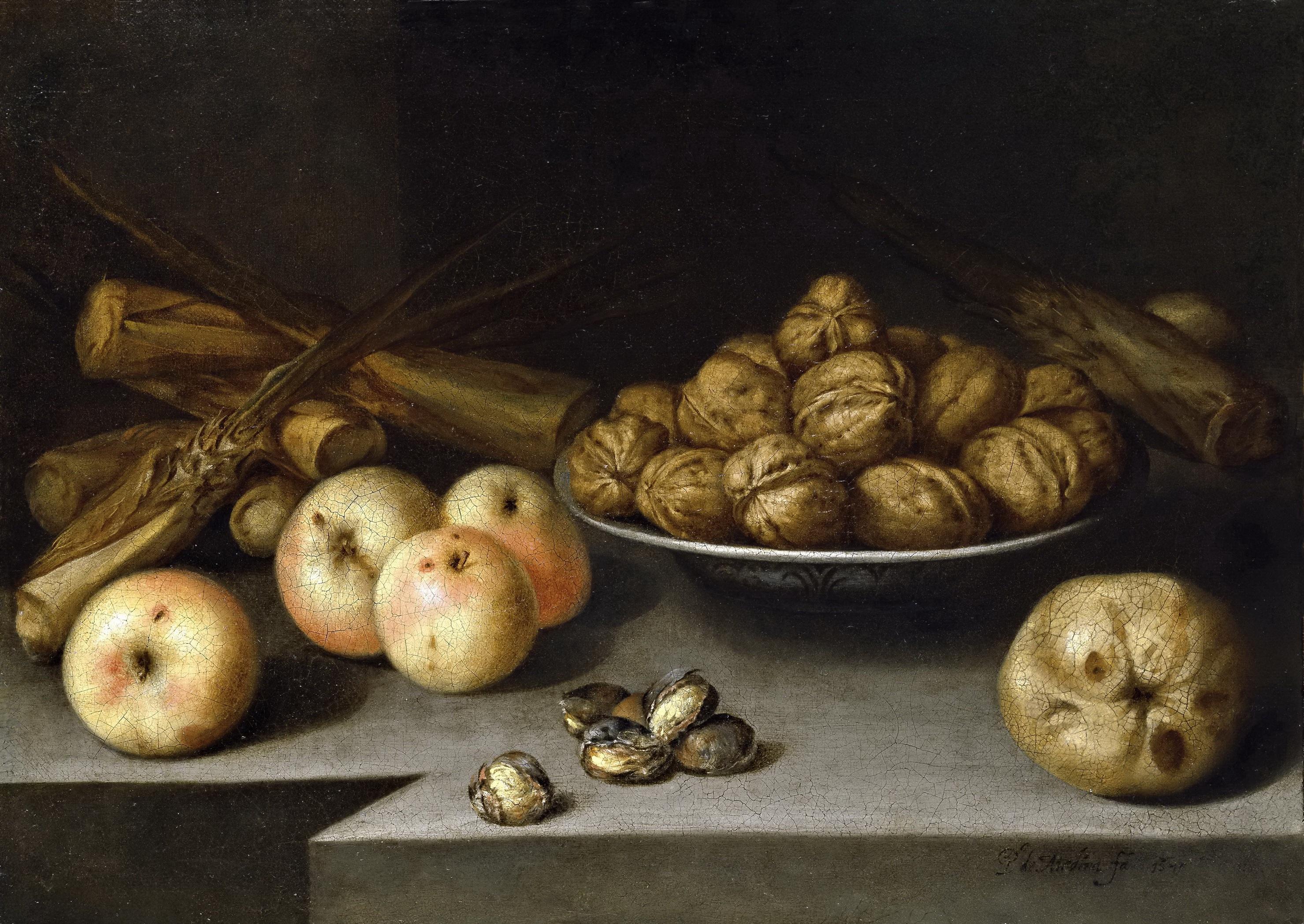 Медина, Педро де -- Натюрморт с яблоками, орехами и пластинами из сахарного тростника