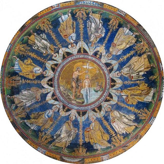 Крещения Господня . Равеннские мозаики V-VI вв. В куполе Православного баптистерия.