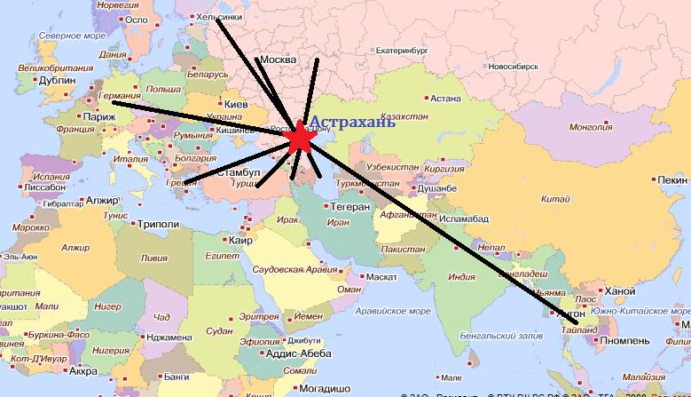 карта полётов