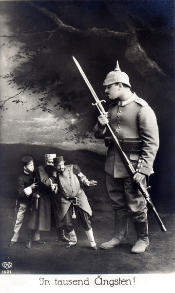 A cleverly composed propaganda picture, depicting a German infantryman as a fearless giant, whilst diminutive British, Russian and French soldiers cower in fear