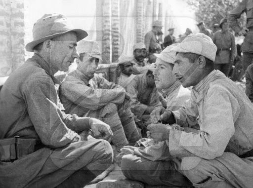 Красноармеец беседует с солдатом иранской армии, сложившей оружие во время Великой Отечественной
