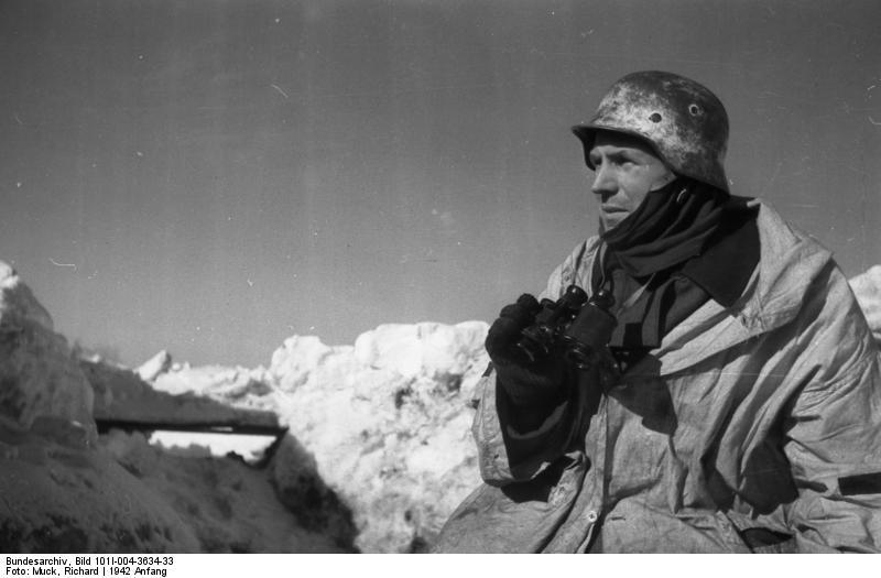 Bundesarchiv Bild 101I-004-3634-33, Russland, Cholm, Soldat mit Feldstecher