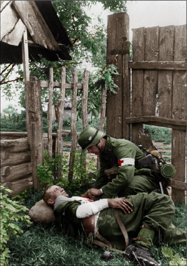 Germans taking care of their wounded first aid sanitater red cross