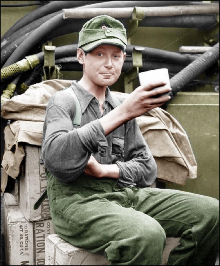 A young German soldier taken as a POW