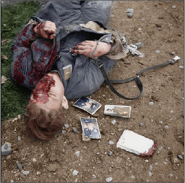 Dead Luftwaffen soldier in Normandy