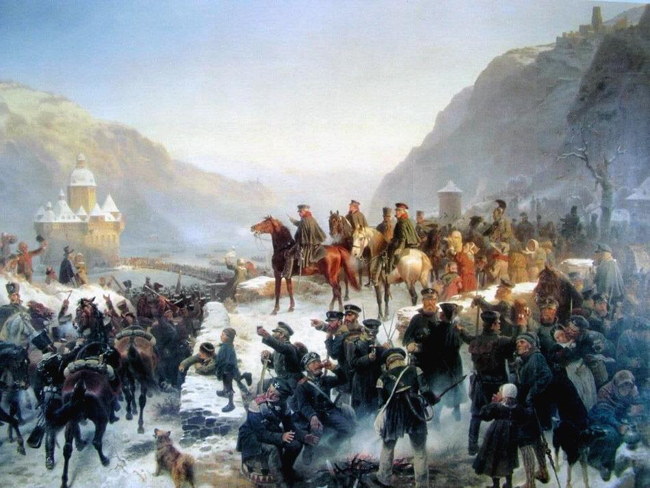 31-12 Blucher в ночь на новый 1814 год пересек Рейн в р-не г. Кауба в погоне за французами , Вильгельм Кампгаузен.jpg