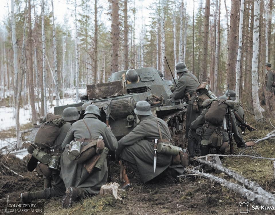 """Немецкие войска и """"белофины""""  на Карельском фронте, в цвете. ( 20 фото )"""