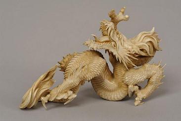 Скульптура «Дракон». Япония, XIX в. Слоновая кость, резьба, гравировка. Государственный музей Востока.