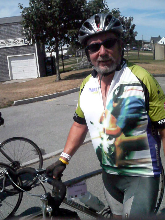 Ed arrives in Bourne after his ride down from Wellesley.