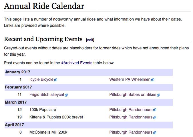Annual Ride Calendar webpage