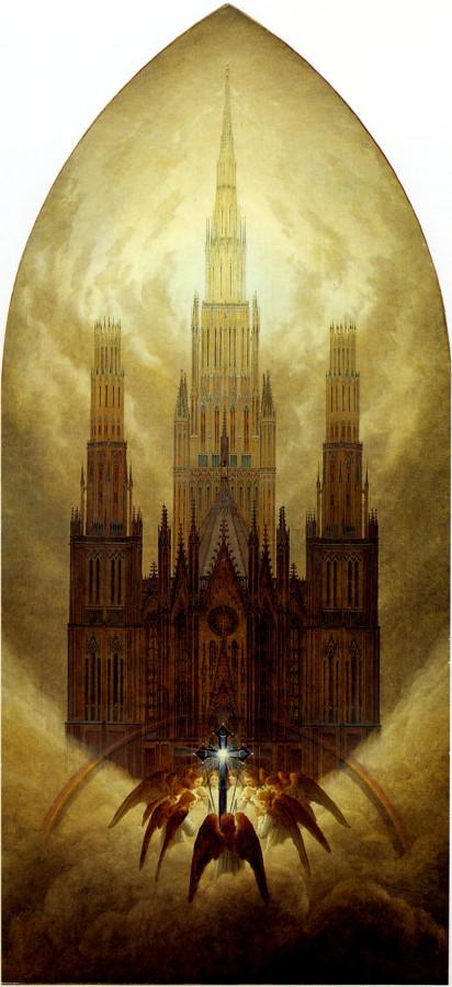 La Cathédrale  Huile sur toile (1818) 152,5x70,5 cm  Collection Georg Schäfer