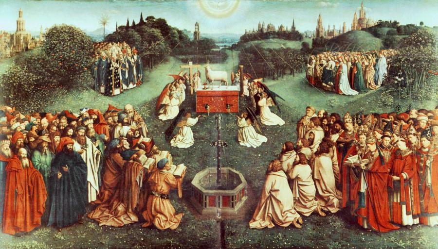 Гентский алтарь, Поклонение Агнцу, главная сцена, 1432