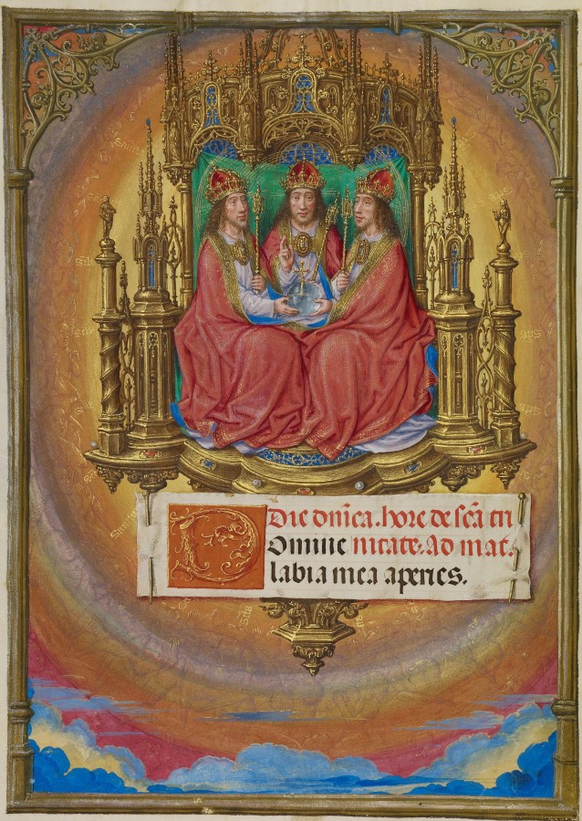 Master of James IV of Scotland (Flemish, before 1465 - about 1541) - The Holy Trinity Enthroned, about 1510-1520_cr