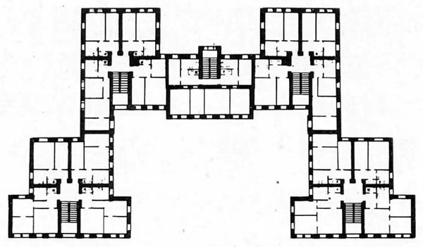 4-й коммунальный дом в Витебске.  План типового этажа