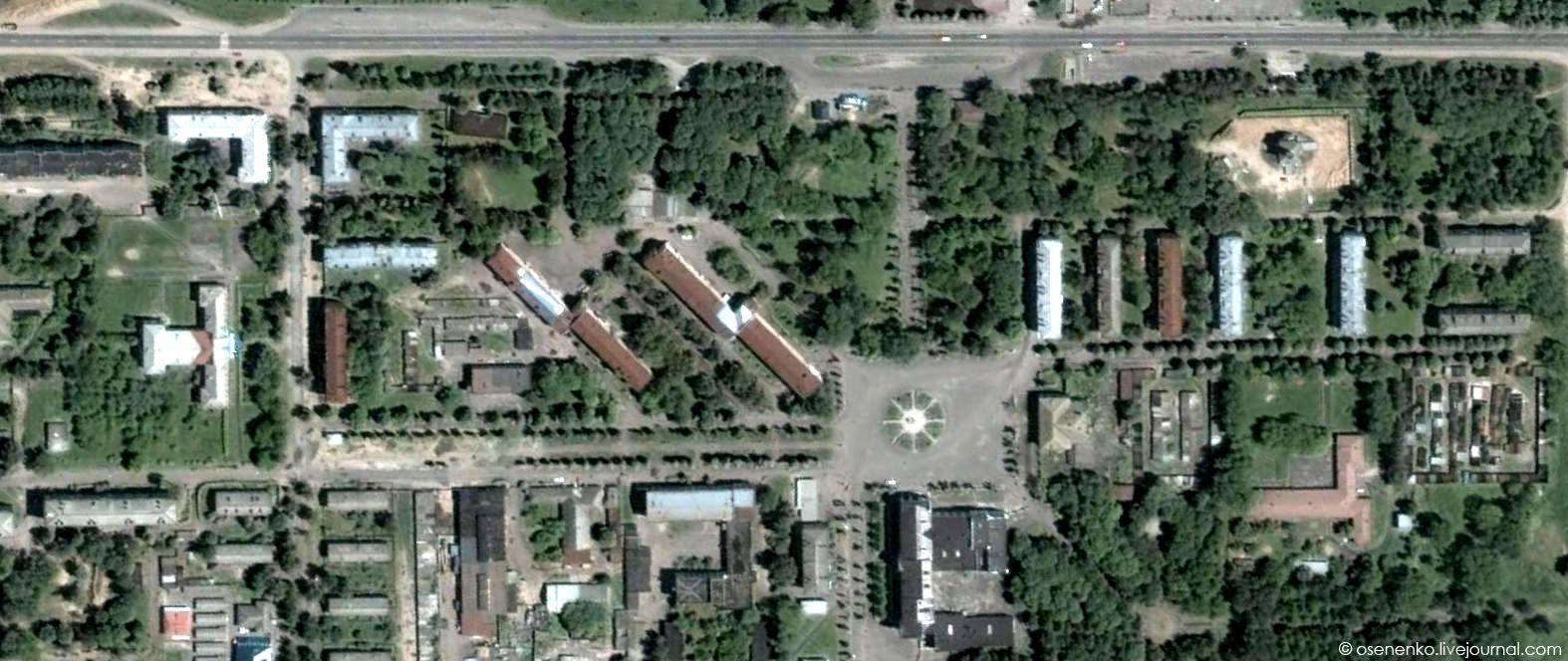 Костюковка. Спутниковый снимок фрагмента поселка 2006 г.
