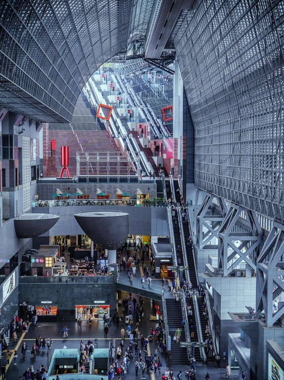 Kyoto Station, with its 12 floors of escalators
