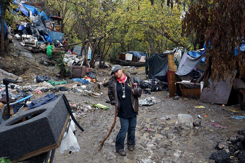 Это - город бомжей в Сан-Хосе, США.