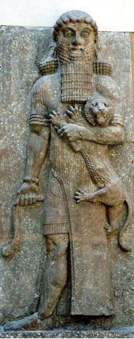Гильгамешъ и Котъ. Ворота дворца Саргона II, 8 вѣкъ до н.э.
