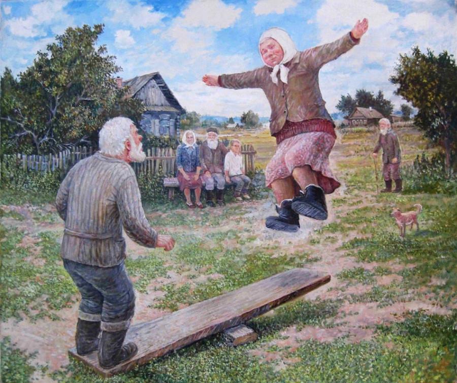 картинка старик со старухой прыгают в водоем тона