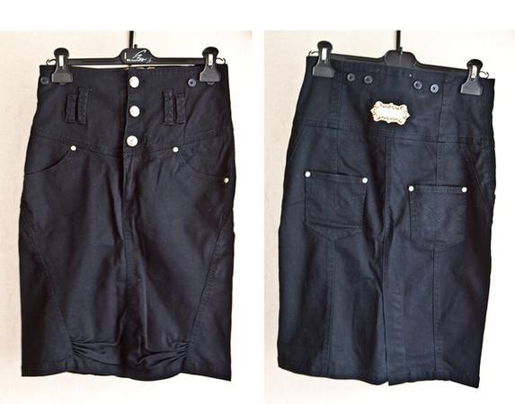 №30 Черная джинсовая юбка-коллаж 1