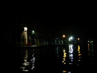Night on the Grand Canal, facing the Rialto market