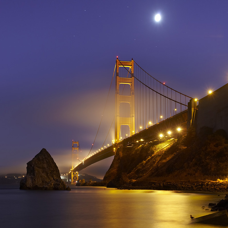Golden Gate Bridge, Night, San Francisco, California.