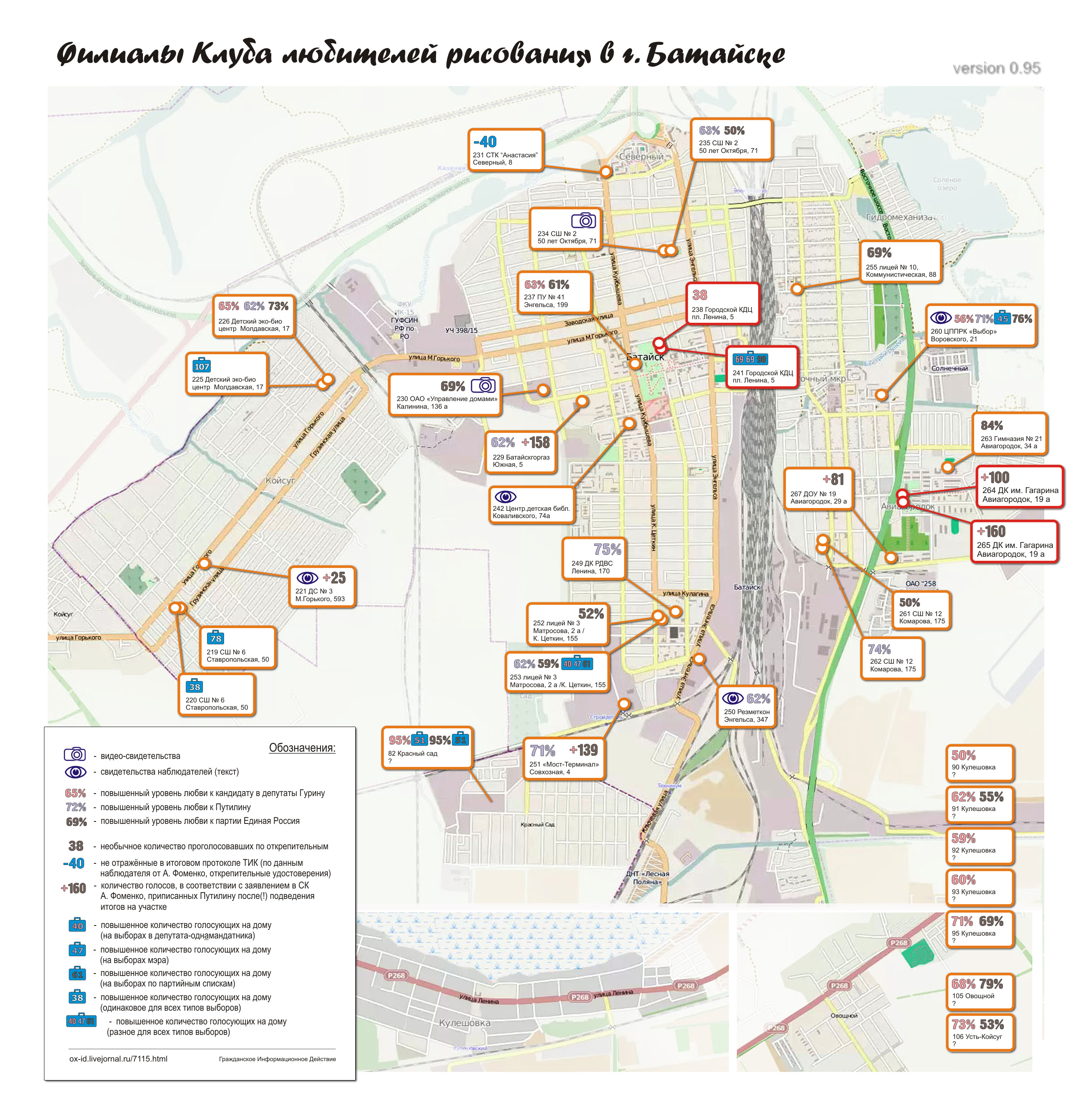 Карта избирательных аномалий г. Батайска