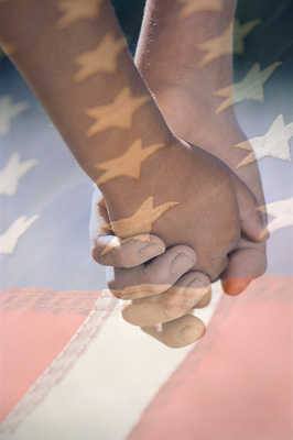 American Flag, parent and child