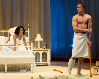 Cat on a Hot Tin Roof photo from OSF: Brick (Danforth Comins) rebuffs Maggie's (Stephanie Beatriz) attempts to draw him into conversation. Photo by David Cooper.