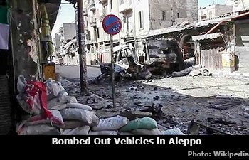 Bombed Out Vehicles in Aleppo, Syria