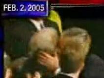 President Bush kisses Senator Lieberman