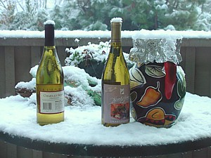 Wine bottles with snow on top