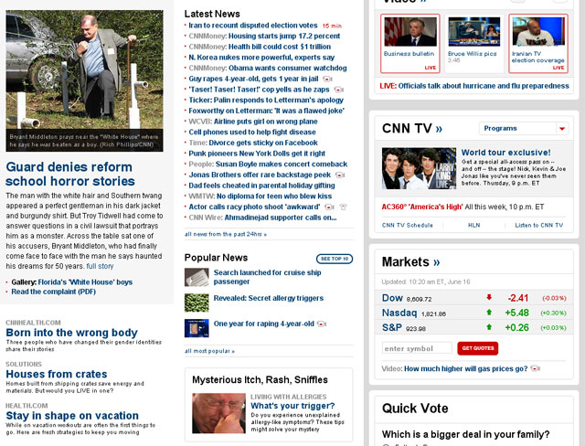 Screen shot of CNN Home Page
