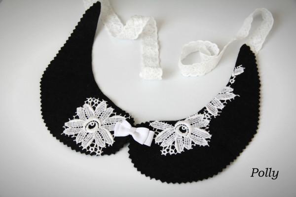 Воротничок черный фетр и три белых кружевных цветка