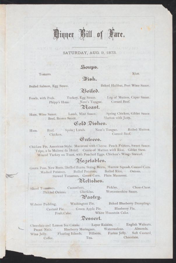Меню 1873 - 2