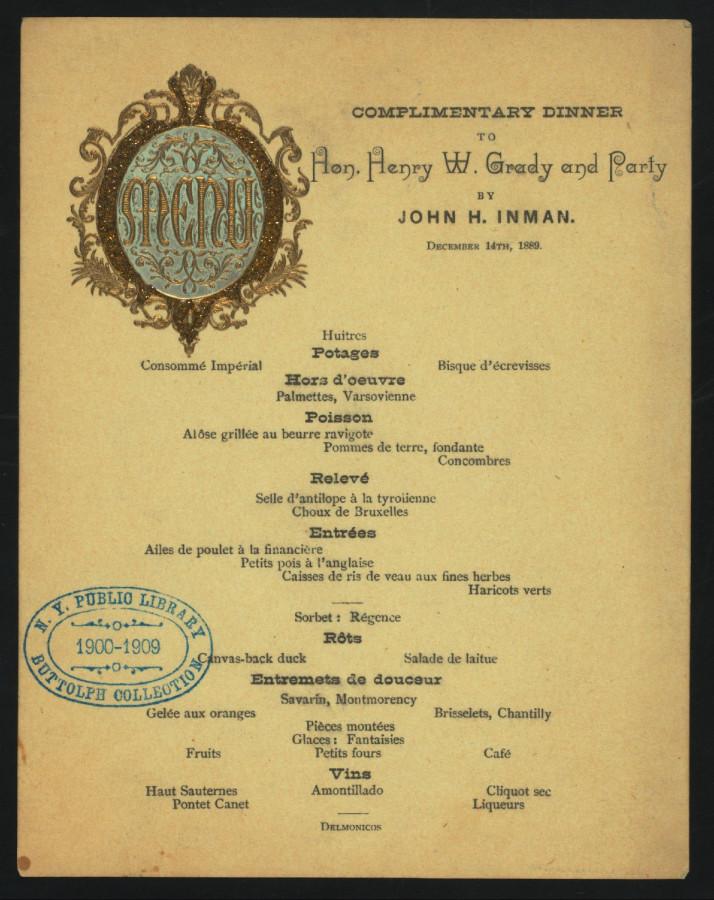 Меню 1889