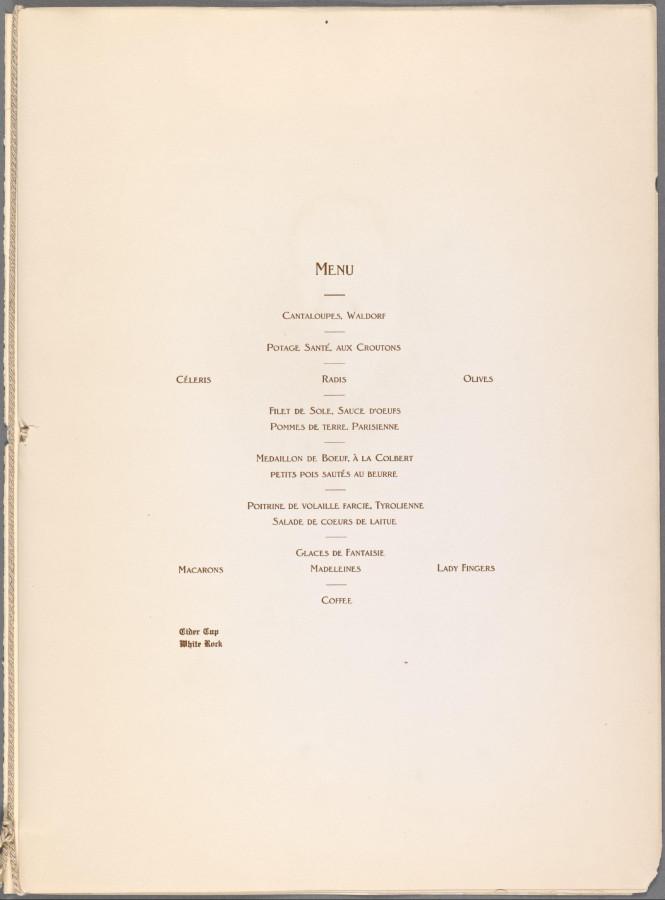 Меню 1919 - 2