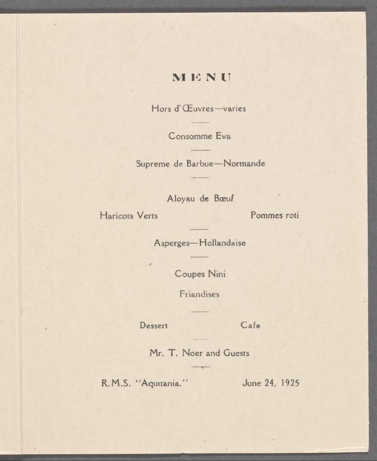 Меню 1925 - 2