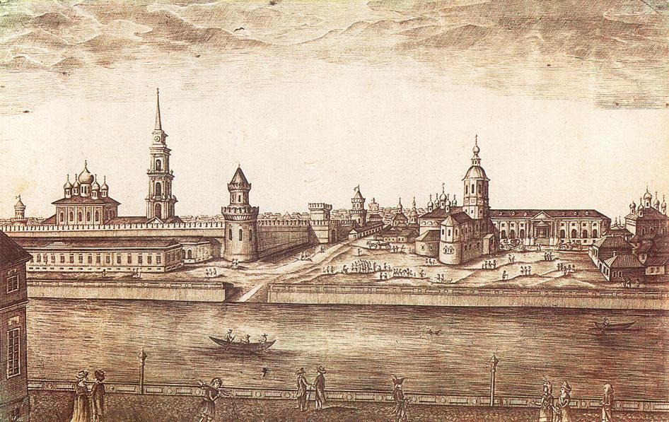 Набережная реки Упы у Тульского кремля. Гравюра 1807 г.