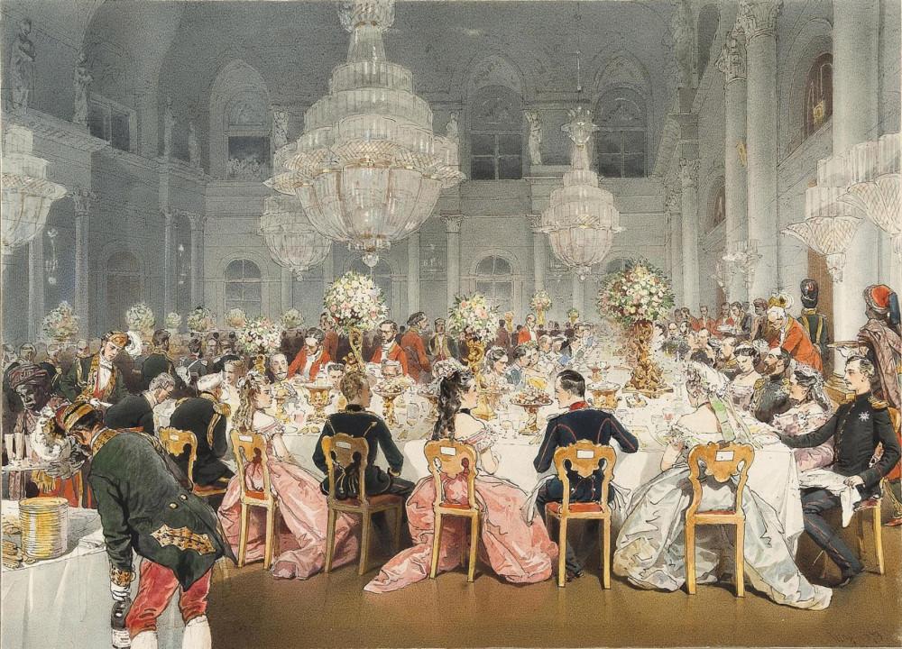 Зичи М.А. Парадный обед в Концертном зале Зимнего дворца по случаю визита в Санкт-Петербург германского императора Вильгельма I (1873)