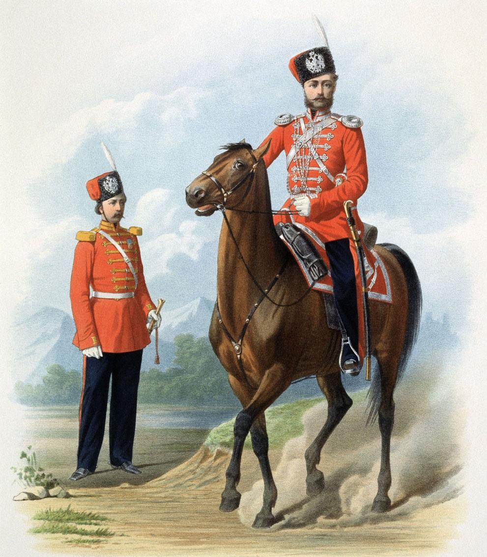 Рядовой и Обер-Офицер Л.-Гв. Казачьего полка. 10 июля 1867. (В городской парадной форме)
