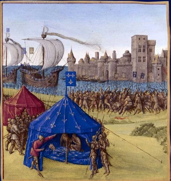 Смерть Людовика IX во время осады Туниса. Миниатюра Жана Фуке из «Больших французских хроник». XV в.