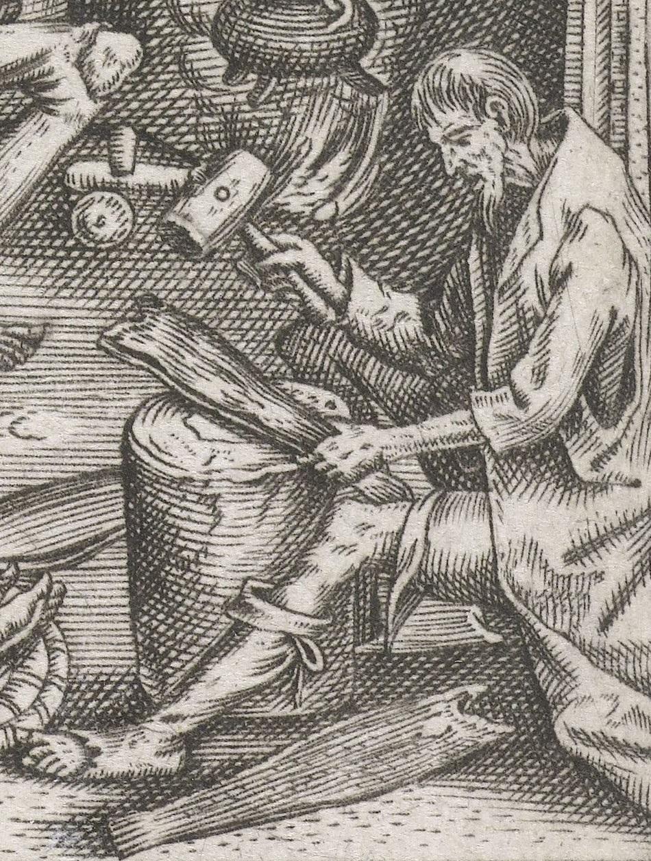 Человек, разбивающий соленую треску молотком. Фрагмент картины Питера Брейгеля-старшего «Жирная кухня» (1596)