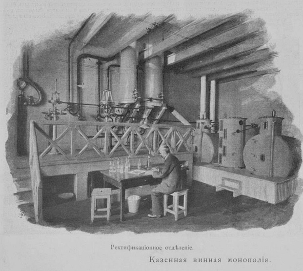 Ректификационное отделение. Иллюстрация из журнала «Огонек» (1898)